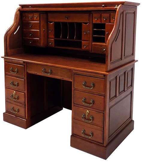 roll top desk 53 3 4 quot w deluxe cherry roll top desk in stock