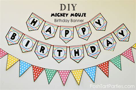 A Mickey And Minnie Mouse Party Free Printable Happy Birthday Banner Posh Tart Happy Birthday Banner Template
