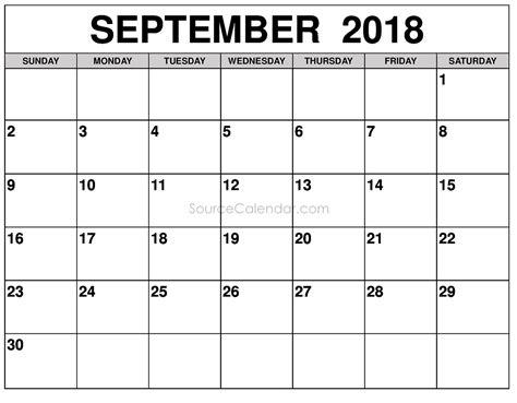 template calendar september 2018 printable september 2018 calendar template pdf
