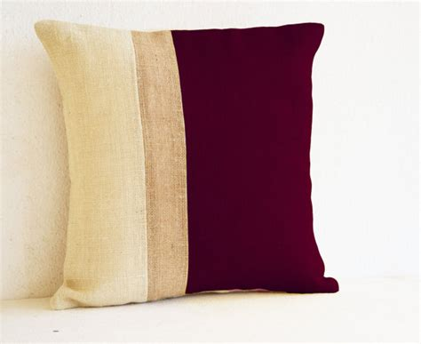 throw pillows for burgundy sofa burgundy pillow burlap pillow color block maroon ivory
