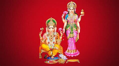 wallpaper hd for desktop diwali mata laxmi with ganesh red background hd desktop wallpaper