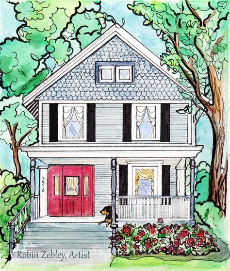 house portrait artist and animals house portrait painting a big of whimsical