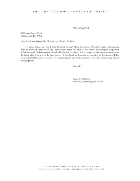 Resignation Board Letter Template resignation letter format best church membership