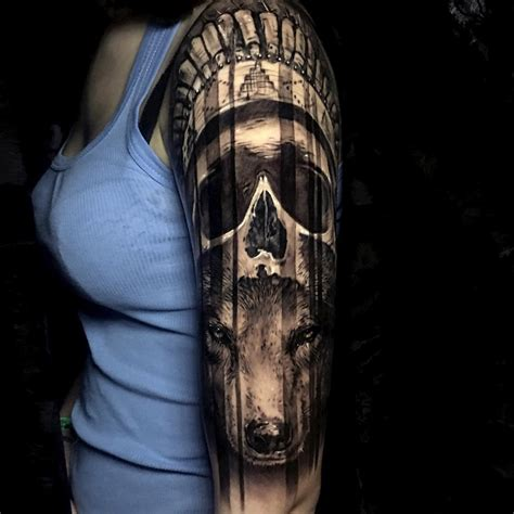 wolf sleeve tattoo designs headdress skull wolf sleeve best design ideas