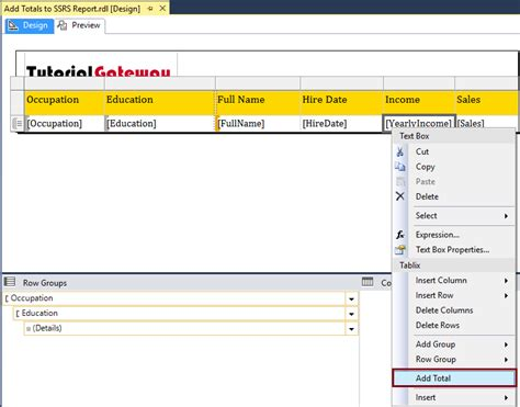 ssrs report sles add total and subtotal to ssrs report