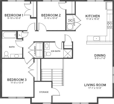 3 4 bath floor plans 3 bedroom 1 3 4 bath flats ashland place