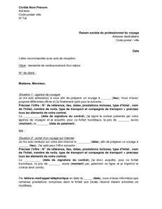 Lettre Motivation Demande Visa Sejour Exemple Gratuit De Lettre Annulation Et Demande Remboursement 224 Voyagiste Ou Agence Voyages