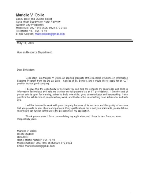Business Application Letter For Ojt sle cover letter for ojt application