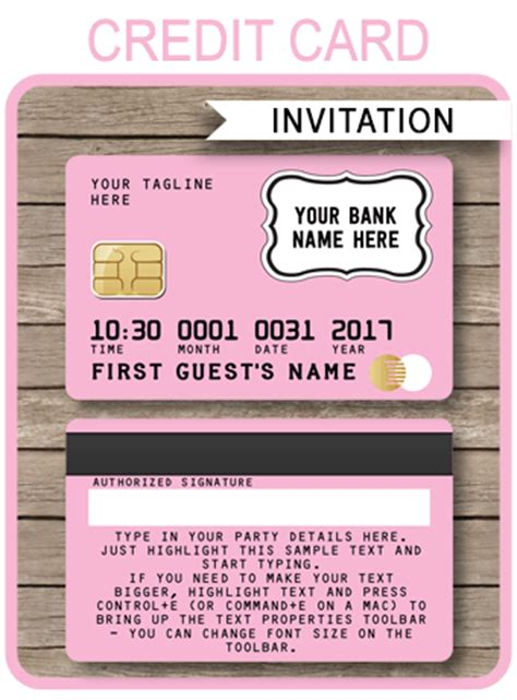 Credit Card Birthday Invitation Template Pink Credit Card Invitations Mall Scavenger Hunt