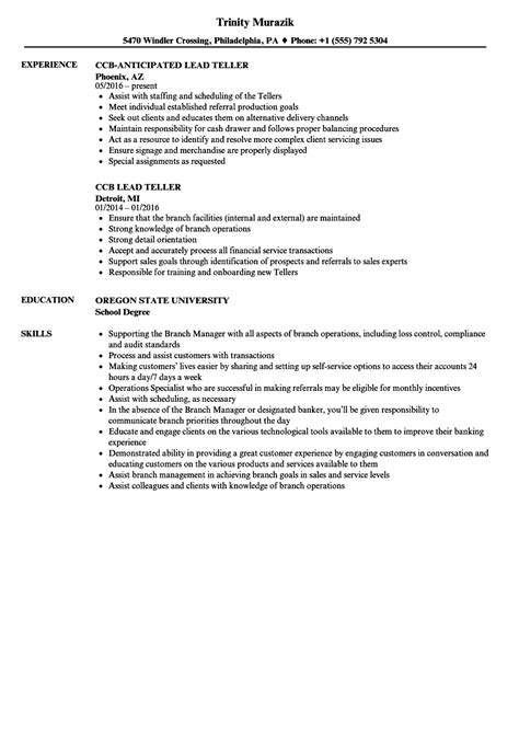 resume templates for lead teller lead teller resume sles velvet