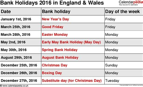 printable uk calendar 2016 with bank holidays bank holidays 2016 in the uk