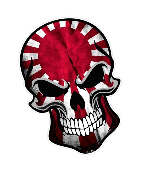 Cutting Sticker Jdm Flag biker skull with japanese jdm style rising sun flag motif external vinyl car sticker 110x75mm
