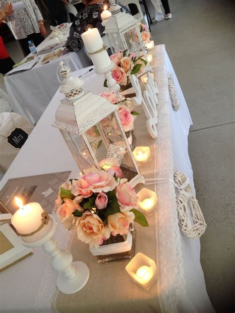 Handmade Centerpieces - country wedding decoration vintage wedding table