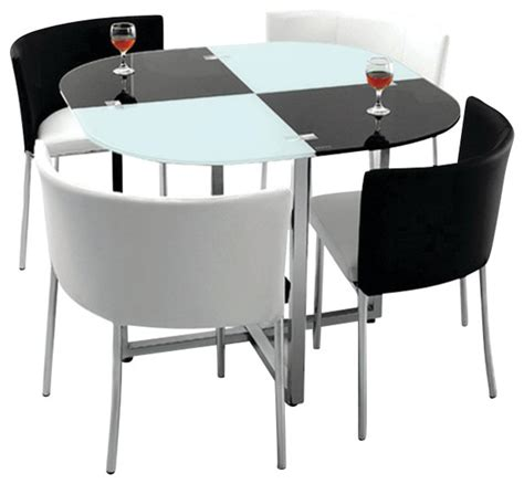 Modern Set by Modern Retro 5 Dinette Set With Faux Leather Black