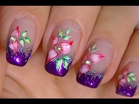 easy acrylic paint nail simple flower made with acrylic paint and watercolors