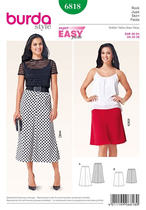 skirt pattern burda 6818 burda pattern misses easy fit skirt