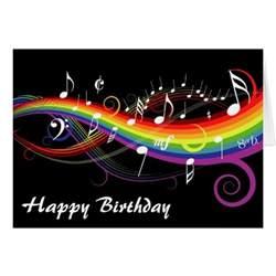 rainbow white music notes happy birthday card zazzle