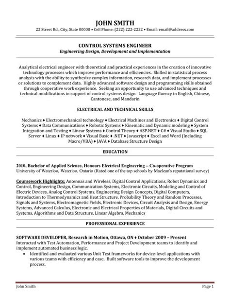 Systems Engineer Resume Sle system engineer resume format 28 images senior systems engineer cv beispiel visualcv
