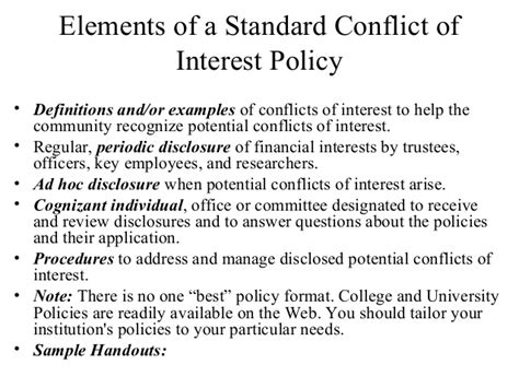 conflict of interest policy template d2 building a conflict of interest program scce higher