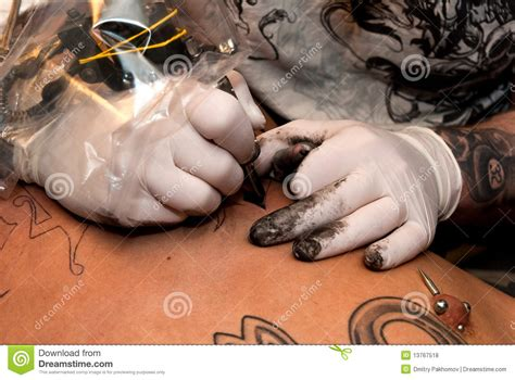 tattoo artist process tattooing process royalty free stock photos image 13767518