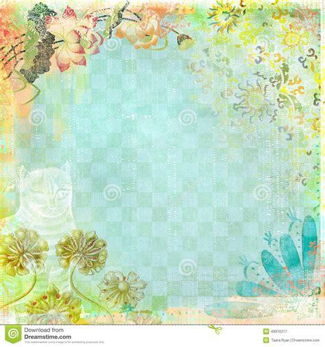 boho teatime grunge paper background blue floral stock illustration illustration of aqua blue