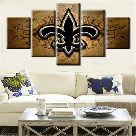 New Orleans Saints Home Decor New Orleans Saints Football Team Logo Painting On Canvas Modern Home Pictures Prints Living