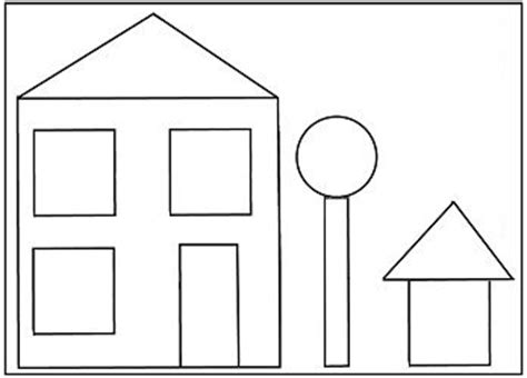 R Drawing Shapes by Preschool House Shape Template Shapes Pinte
