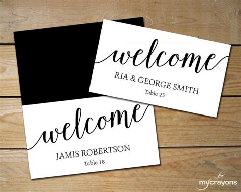 Diy Wedding Name Card Template diy place cards wedding black and white place cards