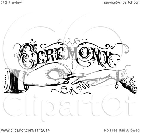 Wedding Ring Exchange Clipart by Clipart Vintage Black And White Wedding Ceremony Sign With