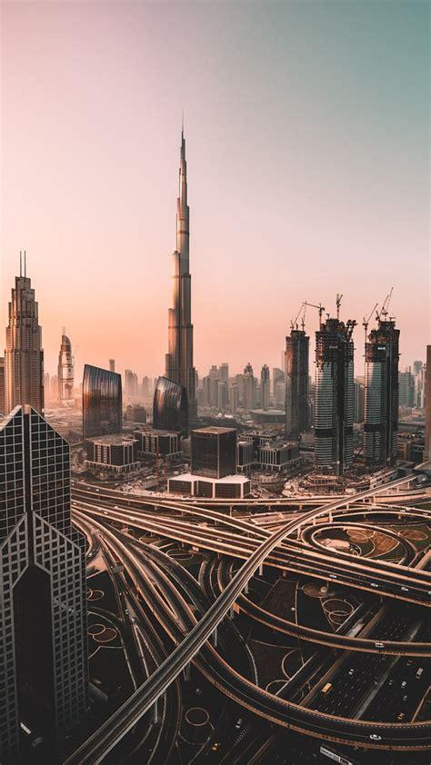 wallpaper dubai skyline cityscape skyscrapers burj