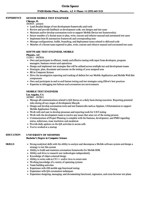 mobile test engineer resume format mobile test engineer resume sles velvet