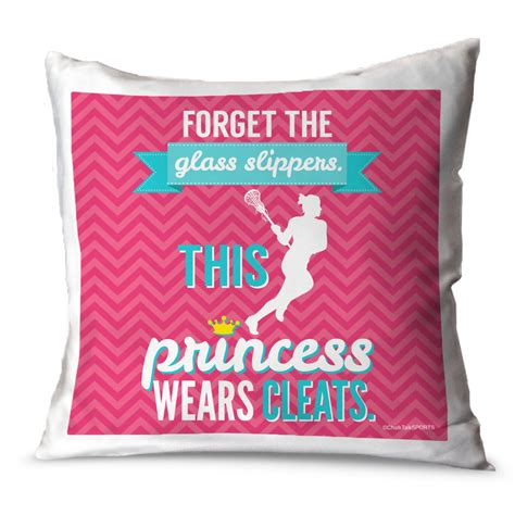 forget the glass slippers this princess wears cleats lacrosse throw pillow forget the glass slippers this