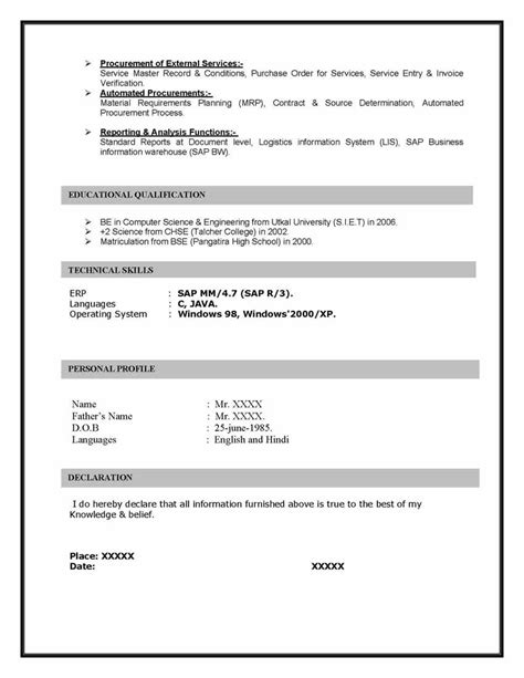 Management Information Processing Resume by Sap Mm Materials Management Sle Resume 10 00 Years