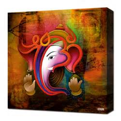 Home decorating canvas wall art ganesh collage