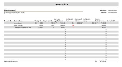 Kostenlose Vorlage Inventarliste Inventarliste Vorlage Muster Vorlage Ch