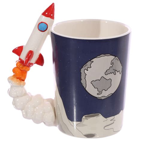 Gothic Home Decor Uk by Space Rocket Shaped Handle Mug With Planet Surface Decal