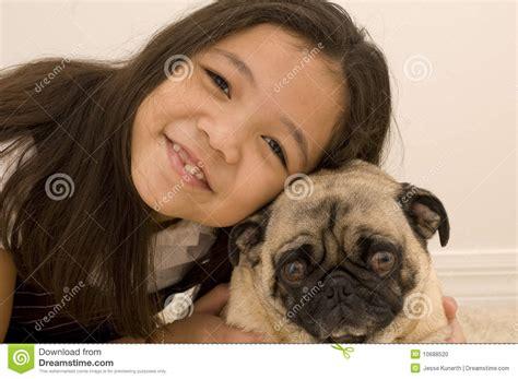 asian pug asian with pet pug stock photo image 10688520