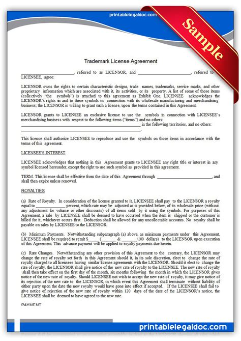 brand licensing agreement template free printable trademark license agreement form generic