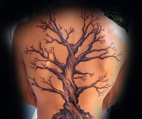 back tree tattoos awesome oak tree mens back