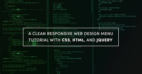 tutorial css responsive design a clean responsive web design menu tutorial with css html