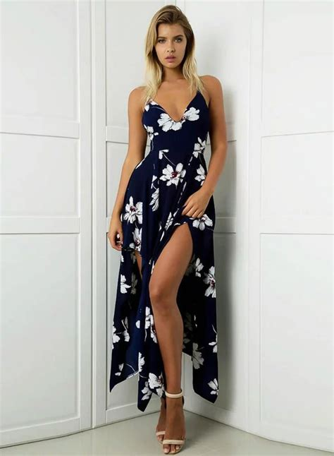 41345 Flower With Slit S M L Dress sleeveless floral printed high slit high low maxi dress