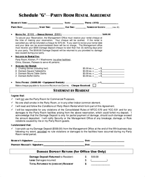 event rental agreement template sle room rental contract 6 documents in pdf