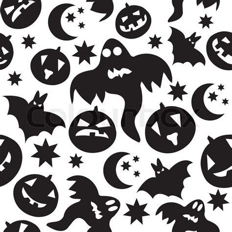 wallpaper cartoon ghost seamless halloween pattern with black ghosts on white