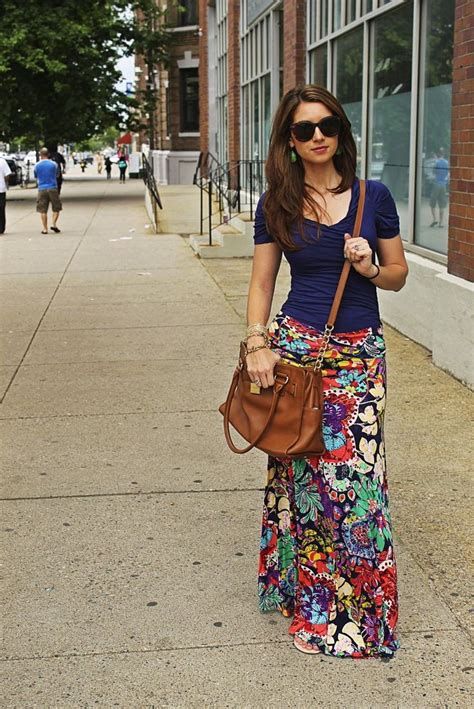 how to wear printed maxi skirts 2018 fashiontasty