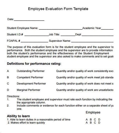 staff evaluation templates employee evaluation form sle 10 free exles format