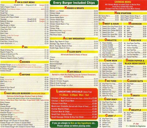 Guest Houses by Chester Tourist Hoole Fish Bar Menu Chester
