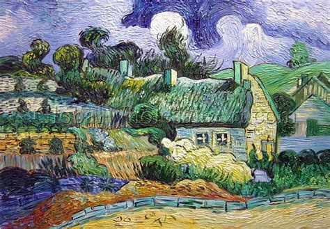 oil paintings global wholesale art vincent van gogh house with thatched roofs cordeville