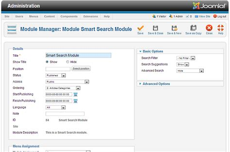 Smart Search Help25 Extensions Module Manager Smart Search Joomla