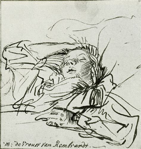Drawing Of A Bed Rembrandt Saskia Asleep In Bed Reclining