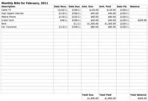 Excel Spreadsheet For Bills Template by Monthly Bills Spreadsheet Printable Images